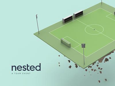 Football ⚽ model drawing poster pitch soccer football work render 3d illustration