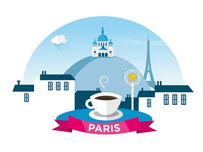 Paris eiffel tower travel flat design montmartre paris