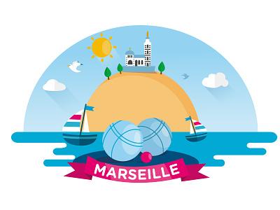 Marseille v petanque boats vector flat design marseille