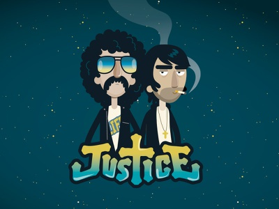 Justice character electro smoke flat vector portrait band music justice