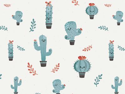 Cactus decoration kid vintage cactus seamless pattern wallpaper
