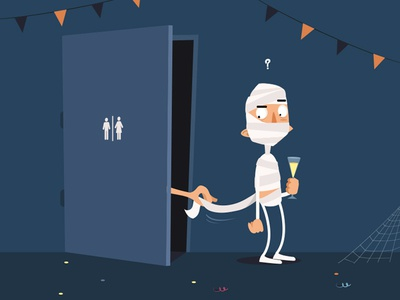 Halloween party art flat design vector illustration funny toilet mummy party halloween