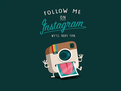 Follow me ! tongue camera photo polaroid follow instagram
