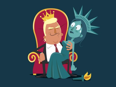 Trump illustration vector king president election sexism statue of liberty trump