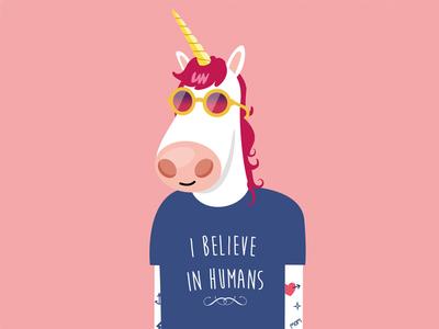 i believe in humans tattoo illustration vector unicorn