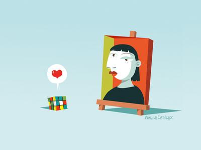 Happy valentine's day cute rubik cube vector illustration love picasso