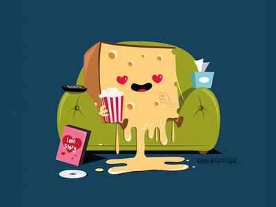 Cheesy movie illustration vector cute tv popcorn love cheese