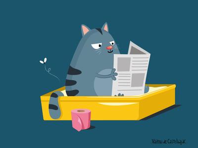 cat pooping. funny cartoon poop toilets liter vector illustration cat