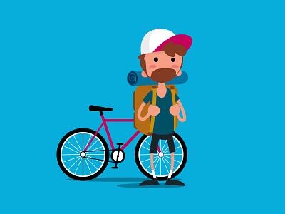 Let's ride character illustration flat design vector backpack hipster beard travel bike