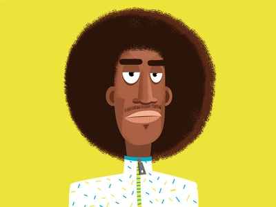 Afro puff illustration portait man vector afropuff characterdesign