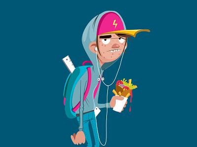 character design / teenager hoodie kebab vector illustration characterdesign teenager