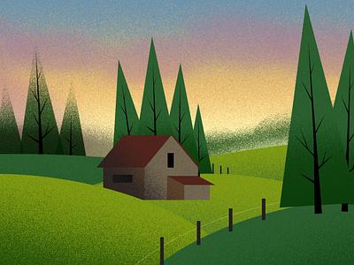 Cabin at Sunset illustration