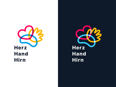 Herz Hand Hirn brand identity design icon abstract logo design illustration brand design branding