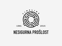 Uncertain Past logo design maze labyrinth past dunja branding mark timeline logo