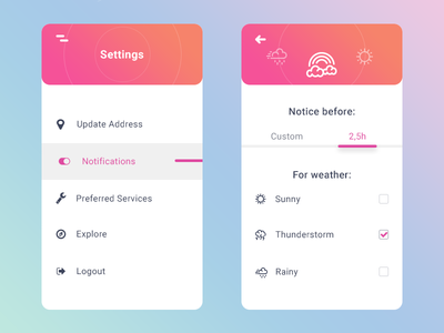 Settings - Daily Ui - Day #007 gradient icons weather cloud settings
