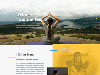 Yoga yellow website relax yoga landing page home