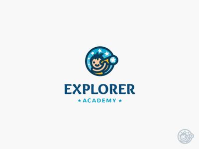 Explorer Academy Logo school stars education child kid night symbol mark logo academy explorer
