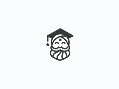 Class Guru school education guru beard line logo icon mark