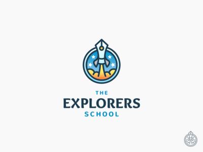 The Explorers School Logo rocket pen sky star logo mark explorers school