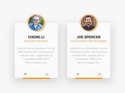 Social Share icons circle orange cards web social