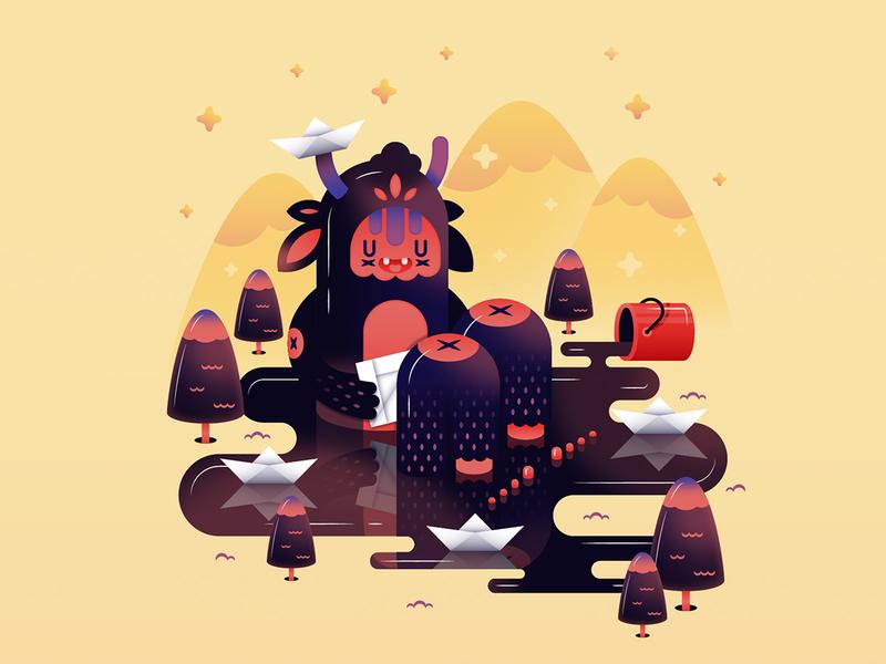 Monster child paper lake paint forest bucket doodles cute vector paper boat plastic 3d creature monster illusration