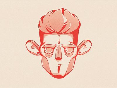 Self face gradient procreate noise grain minimal illustration head character selfportrait self