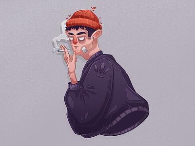 Fumeur   Illustration self boy adidas portrait sketch illustration procreate character design cigarette smoking smoker