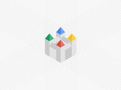 GDG Bratislava grid logotype logo isometry isometric iso identity google gdg castle branding brand