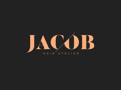 Jacob – Hair Atelier haircut serif scissors minimal hairdresser cutting cut logotype logo hair salon hairstyle salon hair