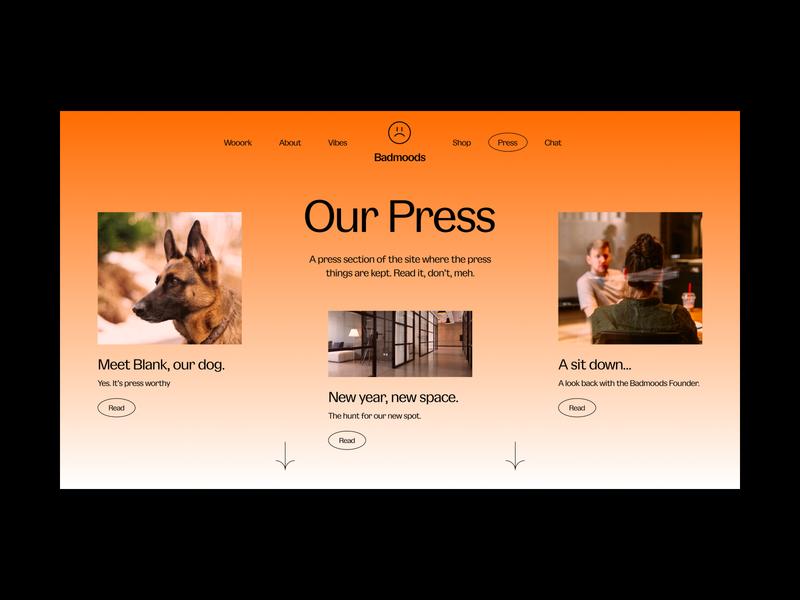 Daily UI #51 // Press Page gradient type layout typogaphy concept concept design web desgin website design design light ui minimal daily ui clean ui ui