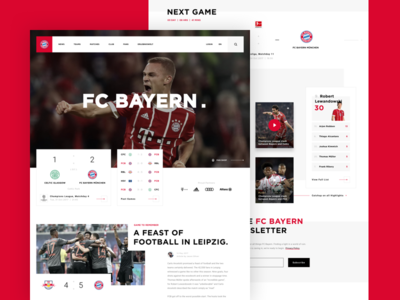 FC Bayern // Concept Site ReDesign sport concept landing page redesign soccer football clean ui design web ux ui