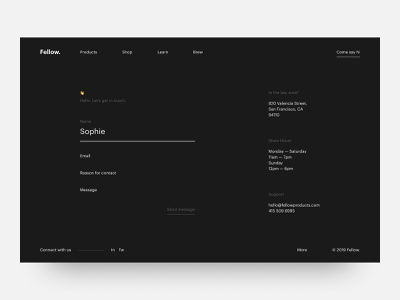 Daily UI #028 // Contact Us web ui website web design contact page contact us ui ux dark ui daily ui minimal clean ui ui