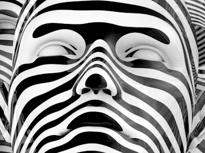 Human Faces 3d faces black white graphics abstract