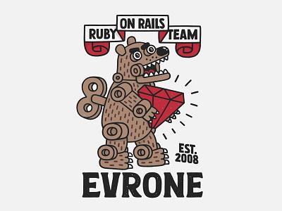 Evrone mascot russia deweloper ruby on rails ruby coat flat bear illustration mascot