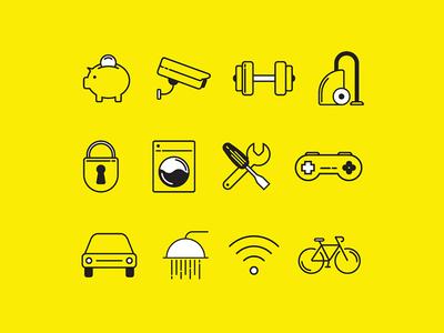 Line icon set - accommodation amenities