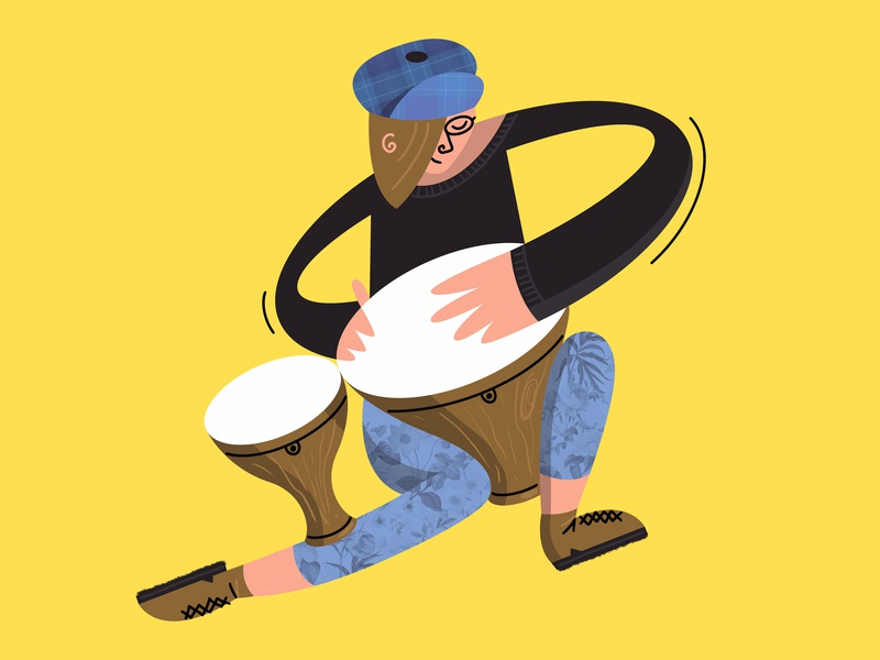 Mum on Drums play playing procreate illustrator instrumental line human yellow movement abstract flat woman person music drums bongos character illustration