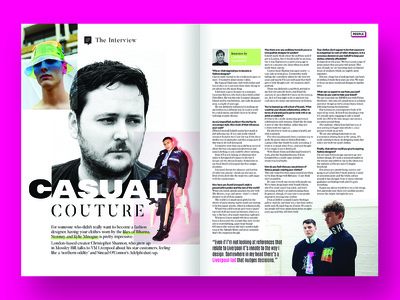 Magazine feature - Christopher Shannon interview