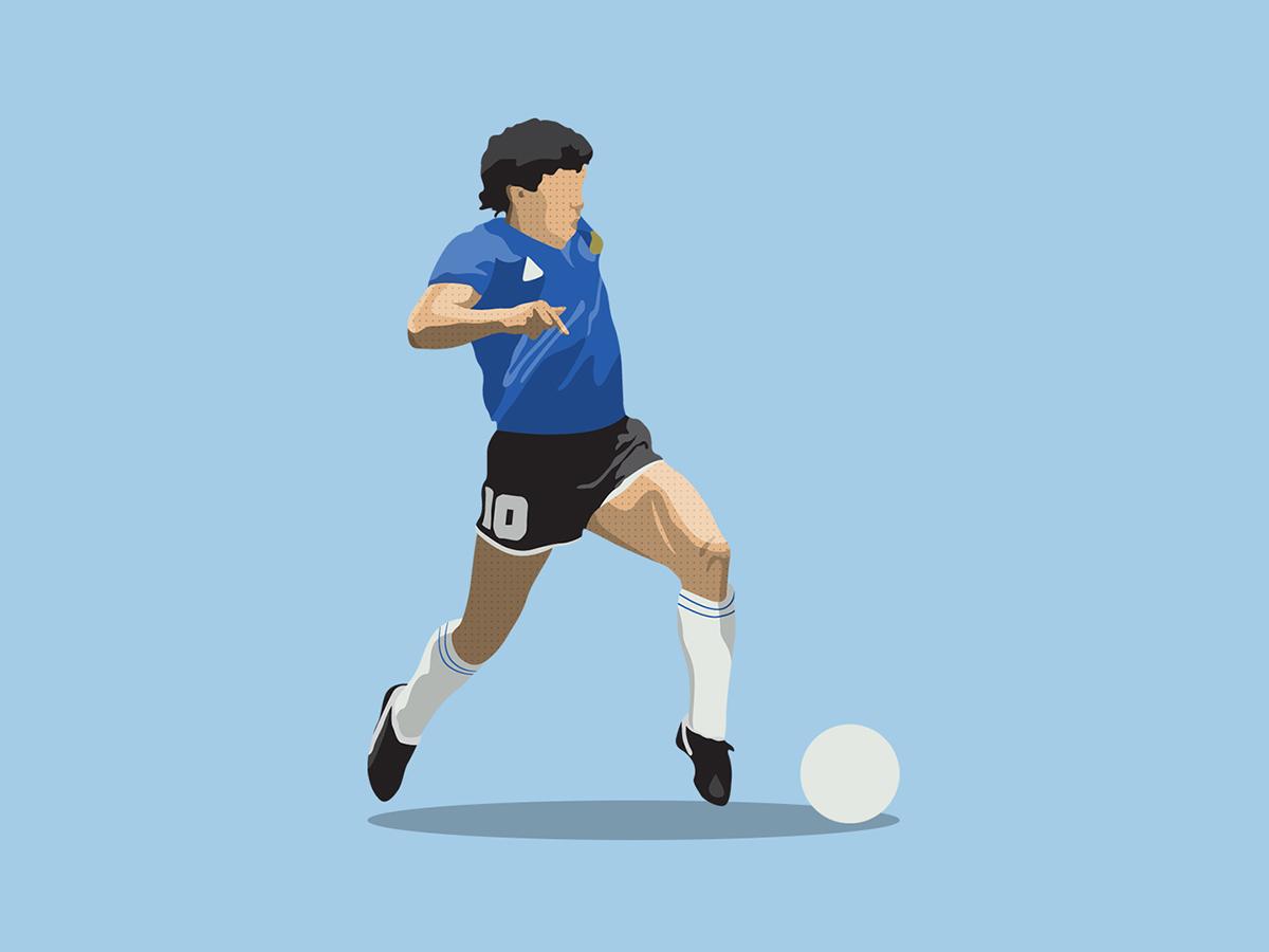 Diego Maradona 1986 1986 80s classic retro football world cup ball illustration art illustration futbol argentina action running soccer football designs football diego maradona maradona