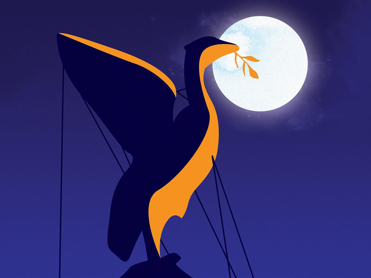 Liverbird simple flat illustration art illustration dusk sky silhouette moonlight nighttime moon night bird docks liver building liver bird liverbird liverpool