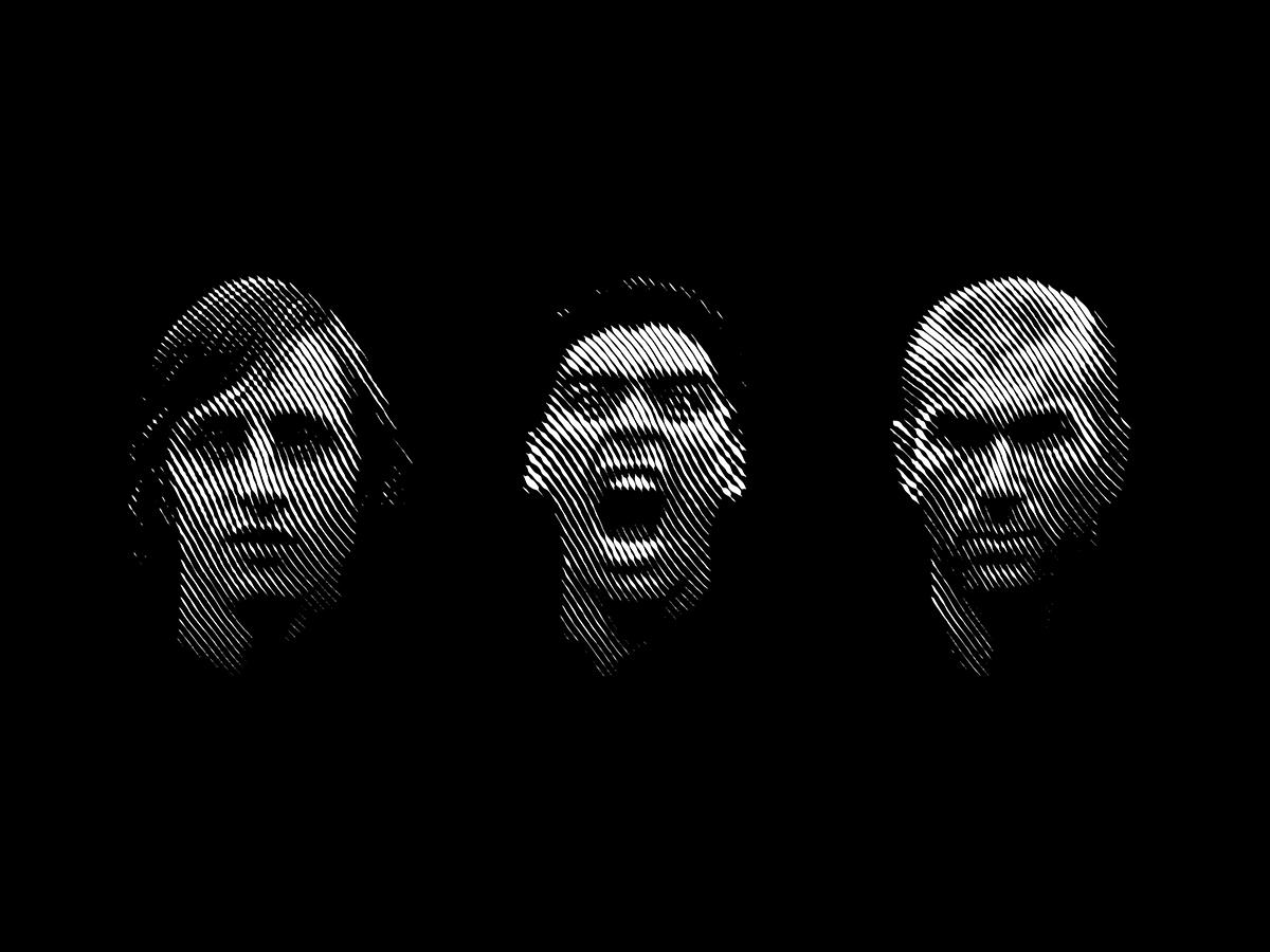 Halftone football portraits shadows people person face faces portrait black  white zidane cruyff maradona calcio futbol soccer illustraion line art lines halftone football