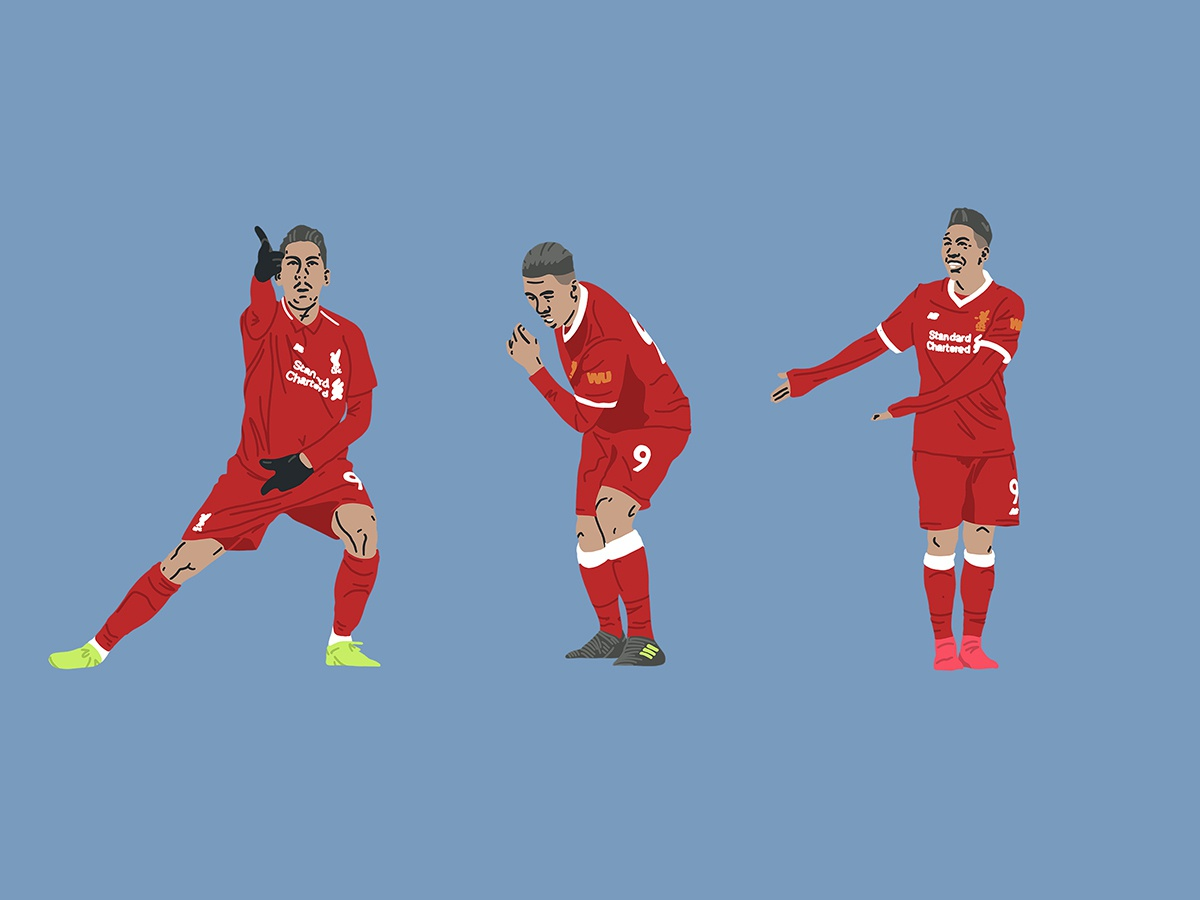 Bobby Firmino - hand drawn celebrations procreate illustration art illustration hand drawn celebrations celebrate goal bobby firmino lfc liverpool fc liverpool football designs football