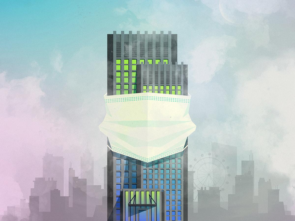 City smog climate change global warming editorial design air mask skyscraper building smoke skyline city pollution air pollution smog illustration design illustration art illustration