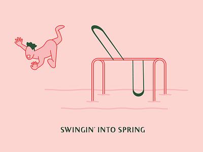 Swingin' Into Spring illustration park swing spring design doodle
