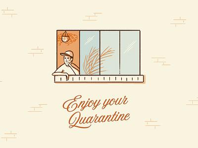 Enjoy Your Quarantine coronavirus houseplants window quarantine doodle cartoon illustration design