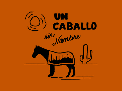 A Horse with No Name cactus spanish orange sun desert caballo horse matchbook illustration design