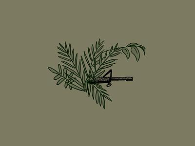 in the bush war gun palm spot illustration illustration platoon stealth m16 rainforest jungle green machine gun plant bush vietnam