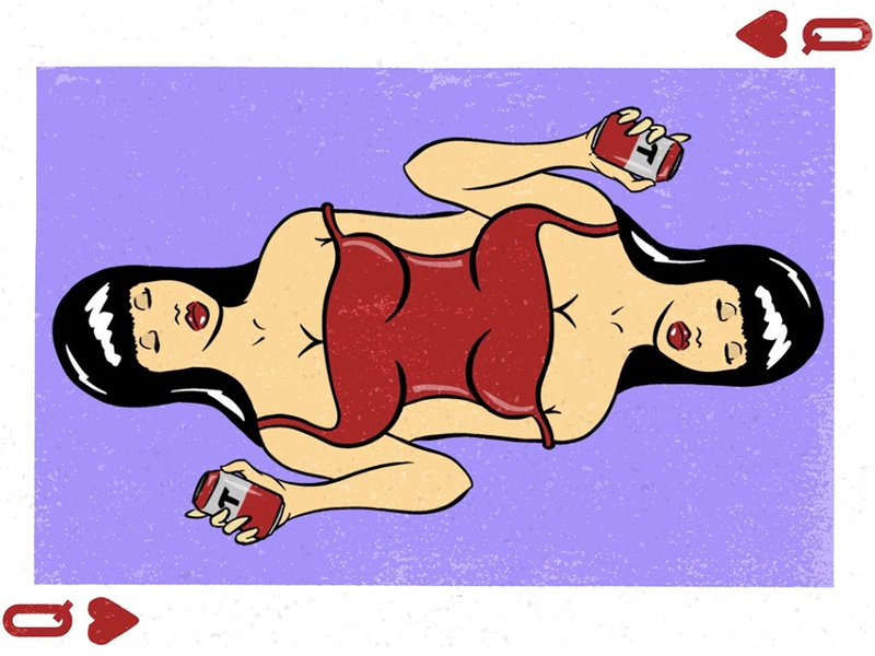 Queen of Hearts blackjack poker sexy dame heart queen of hearts queen red dress beer tecate procreate cartoon pinup pinup girl illustration design playing card