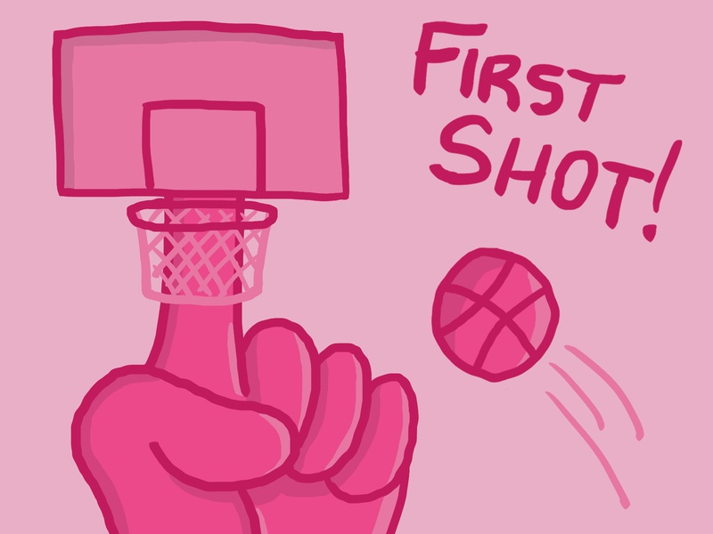 Dribbble First Shot sketch dunk numberone goal basketball pink firstshot hand cartoon illustration design