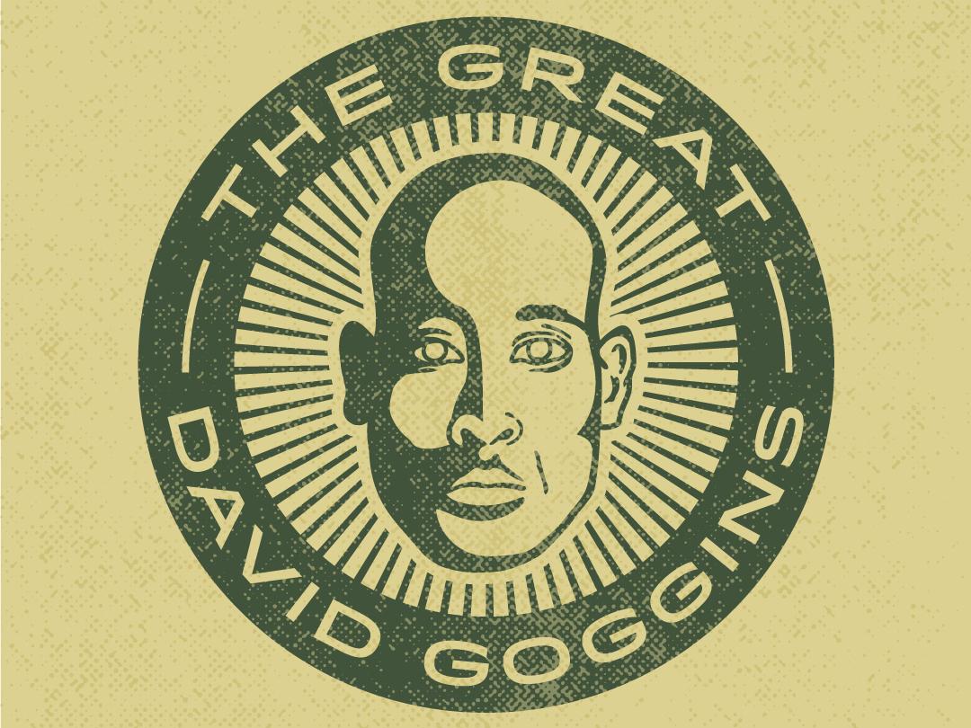 The Great David Goggins vector illustration truegrit seal green sunburst logo crest logo illustrator portrait great crest goggins