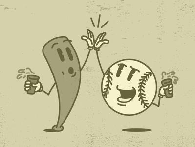 Beer & Baseball springtraining highfive beer maxfleischer vintage baseball vector truegrit sketch design doodle illustration cartoon